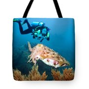 Diver And Cuttlefish Tote Bag