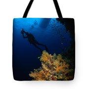 Diver And Soft Coral, Fiji Tote Bag