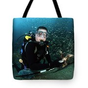 Diver Collects Invasive Lionfish Tote Bag