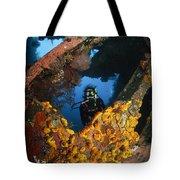 Diver Explores The Liberty Wreck, Bali Tote Bag
