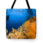 Diver Hovering Over Soft Coral Reef Tote Bag
