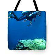 Diver In Deep Tote Bag