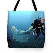 Diver Removes Invasive Indo-pacific Tote Bag