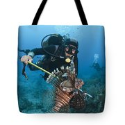Diver Spears An Invasive Indo-pacific Tote Bag