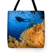Diver Swimms Above Soft Coral, Fiji Tote Bag