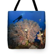 Diver Swims Over Sea Fans, Indonesia Tote Bag