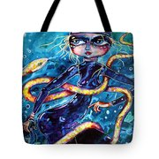 Diving With Serpent Tote Bag