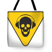 Dj Skull On Hazard Triangle Tote Bag by Pixel Chimp