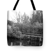 Dock On The River In Black And White Tote Bag