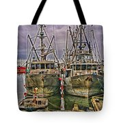 Docked Fishing Boats Hdr Tote Bag