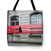 Dog On A Big Red Bench Tote Bag