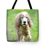 Dog On The Green Field Tote Bag