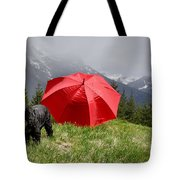 Dog On The Top Of A Mountain Tote Bag