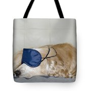 Dog Sleeping With A Sleep Mask Tote Bag