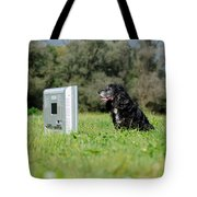 Dog Watching Tv Tote Bag