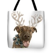 Dog With Antlers Tote Bag