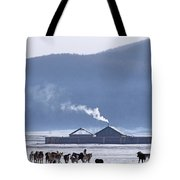 Dogs Play Outside In Rinchenlhumbe Tote Bag