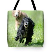 Dogs Running On The Green Field Tote Bag