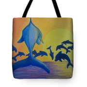 Dolphins Leaping Tote Bag