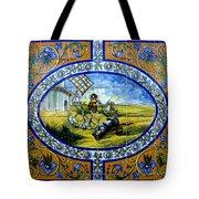 Don Quixote In Spanish Tile Tote Bag