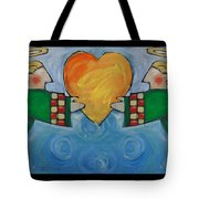 Double Angels With Heart Tote Bag