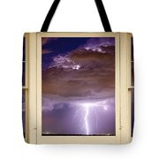 Double Lightning Strike Picture Window Tote Bag