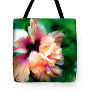 Double Peach Hibiscus Five Tote Bag