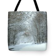 Down A Winter Road Tote Bag