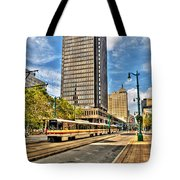 Downtown Buffalo Metro Rail  Heading To The Erie Canal Harbor Tote Bag