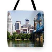 Downtown Cincinnati Skyline And Roebling Bridge Tote Bag