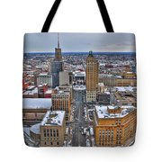 Downtown Court St Winter Scene Tote Bag