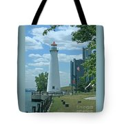 Downtown Detroit Lighthouse Tote Bag