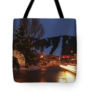 Downtown Jackson Hole At Night Tote Bag