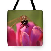 Dragonfly On Pink Flower Tote Bag
