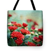 Dreamy Red Mums Tote Bag