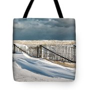 Drifting Snow Along The Beach Fences At Nauset Beach In Orleans  Tote Bag