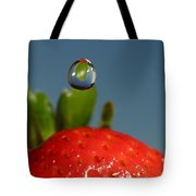 Droplet Falling On A Strawberry Tote Bag