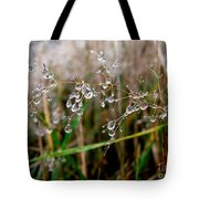 Droplets On Grass Tote Bag