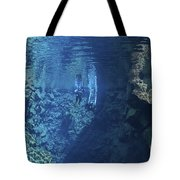 Dry Suit Divers Entering The Gin Clear Tote Bag