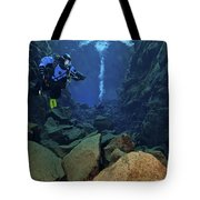 Dry Suit Divers In Gin Clear Waters Tote Bag