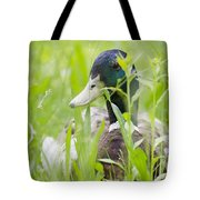 Duck In The Green Grass Tote Bag