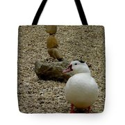 Duck With Rock Sculpture Tote Bag
