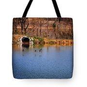 Ducks Flying Over Pond I Tote Bag