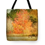 Ducks In An Autumn Pond Tote Bag