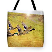 Ducks In Flight V4 Tote Bag