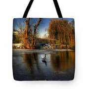 Ducks On Ice Tote Bag