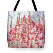 Duomo City Of Milan In Italy Portrait Tote Bag
