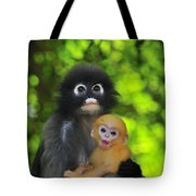 Dusky Leaf Monkey And Baby Tote Bag
