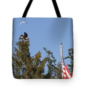 Eagle Rallies Round The Flagpole Tote Bag