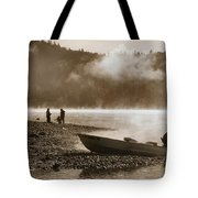 Early Morning Fishing On Scotts Flat Lake In Sepia Tote Bag